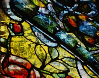 Tiffany Glass, Control Panel. Stained Glass, Church, Blue, Green, Red, Yellow, Blue