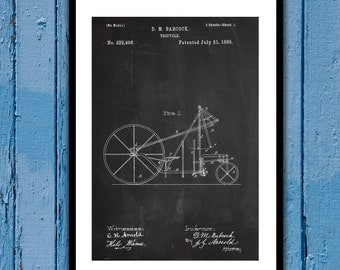1885 Tricycle Patent, Tricycle Poster, Tricycle Blueprint,  Tricycle Print, Tricycle Art, Tricycle Decor