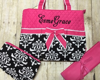 monogrammed diaper bag 3 piece set personalized black pink paisley