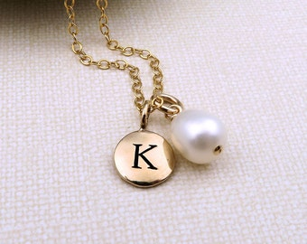 Bridesmaid Pearl Necklace, Freshwater Pearl Jewelry, Personalized Necklace Bridesmaids Initials, Gold Bridesmaid Gift, Initial Necklace