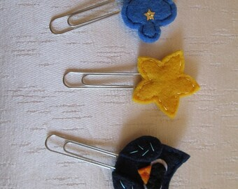 3 planner clips: Owl, Starry Cloud, Star - Planner accessories - 3  Page clips - Felt paper clips - Felt bookmarks - Back to school
