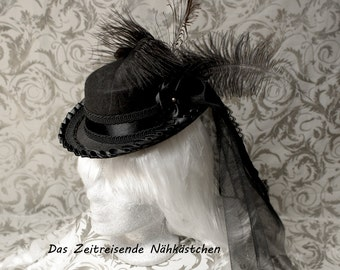 Victorian mini-hat, black, decorated with tulle and feathers