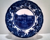 """Antique Flow Blue """"White House"""" Souvenir Plate by W Adams and Co, Porcelain, 10 Inch Wall Plate, Serving Plate, Collectible, Circa 1900-1909"""