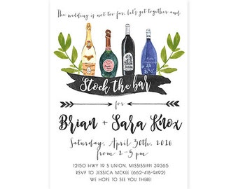 Stock the Bar Invitation, Wedding Shower, Wine Bottle, Printable (685)
