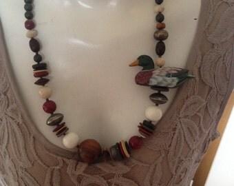 Vintage wood duck necklace woman