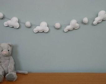 Pom Pom garland - cloud garland - White Pom Pom - cloud - cloud garland - felt - child decor - handmade - MADE TO ORDER