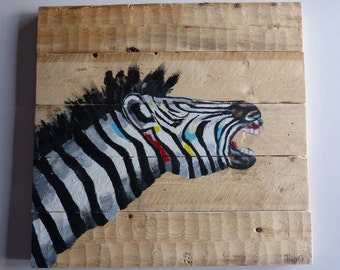 Zebra on recycled wooden frame