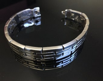 Mens Thick and Heavy 925 sterling silver Bracelet fretworks / grecas style handmade.