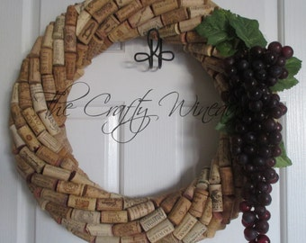 """Large 19"""" - CHOOSE your GRAPES! 19"""" Diameter Handmade Wine Cork Wreath, With Grapes Included, You Choose The Color!"""