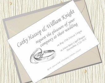 Personalised Wedding Invitations - Rings Design 5x7 inch Card Invites with Envelopes Classic Shabby Chic Country Old Postcard Rustic Vintage