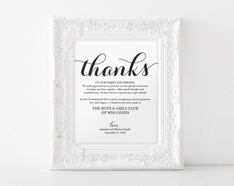 In lieu of wedding favors, Wedding Donation Sign, Charity Printable, Thank you donation printable Sign, PDF Instant Download #BPB133_22