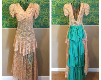 1930s Lace Gown - Teal Bustle Cream Lace with Peplum - M