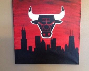 Chicago Bulls - Cityscape Silhouette 12x12