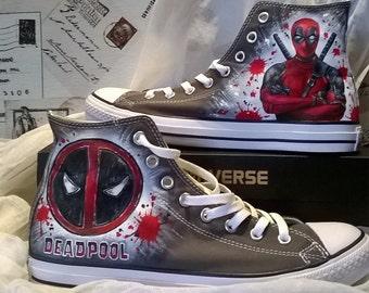 Deadpool  hand painted shoes , Deadpool Converse , hand painted shoes, Marvel shoes, Marvel gifts
