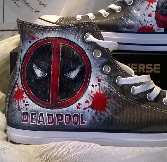 9279745c267 free shipping Deadpool hand painted shoes Deadpool Converse hand ...