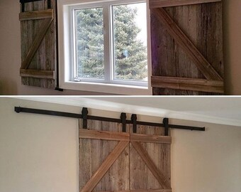 Two Reclaimed Wood Barn Door Shutters for Windows