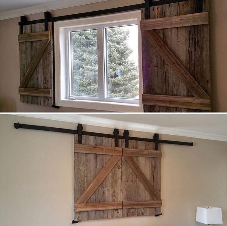 Two Reclaimed Wood Barn Door Shutters for Windows