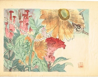"1913, Japanese Woodblock print, antique, Hitomi Renjo, "" Sparrow"""