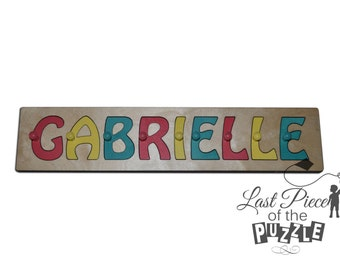 Hand Crafted Personalized Wooden Name Puzzles Child's Name, Custom Made Puzzle Light Yellow, Teal, Coral id241879393
