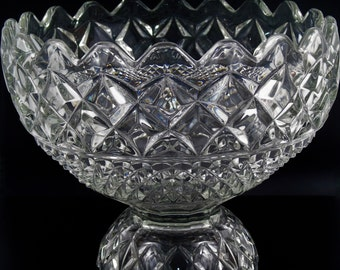 Large Vintage Pressed Glass Pedestal Trifle/Serving/Fruit Bowl.