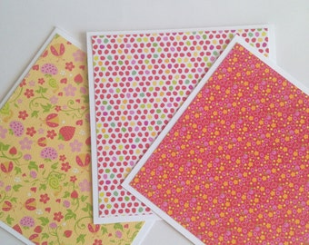 Set of 3 // 4x4 Mini Square Cards // Mini Note Cards // Mini Note Card Set // Mini Cards // Floral // Strawberry // Polka Dots