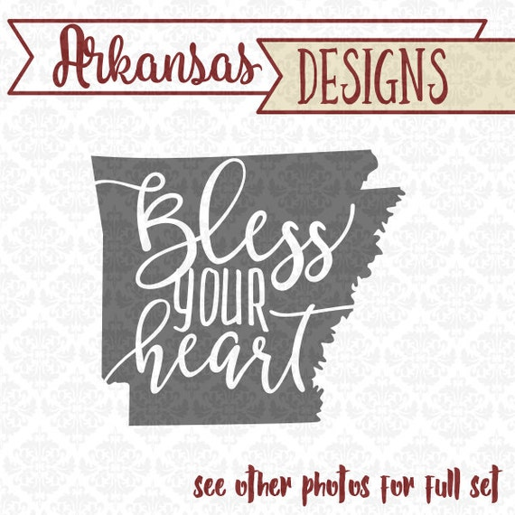 Arkansas Bless Your Heart Southern State Set SVG DXF STUDIO Ai Eps vector instant download commercial use cutting file cricut silhouette