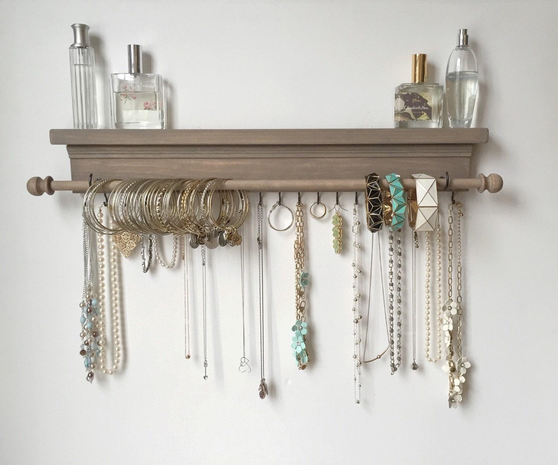 Jewelry Organizer Wall Jewelry Holder And Organizers On: Jewelry Organizer Hanging Jewelry Shelf By TimberRidgeShop