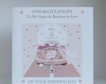 Wedding Day Congratulations Card Large 8x8 inch Size Customised Son/Daughter/Brother/Sister/Granddaughter/Grandson/Friends etc Personalised