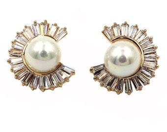 Noble inomplete circle crystal pearl earrings