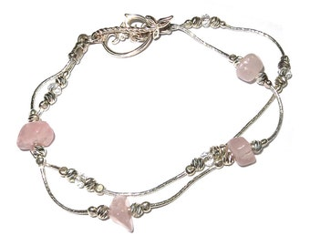 Sterling silver pink quartz beaded bracelet ornament clasp