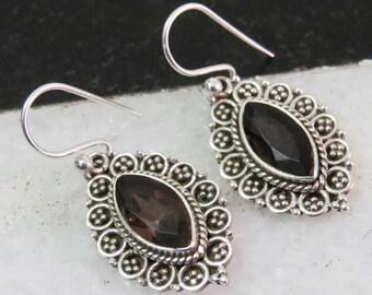 Smoky Quartz Earrings - 925 Silver Earrings - Oxidized Earrings - Vintage Style Earrings - Women Earrings - Dangle Earrings - Gift For Her