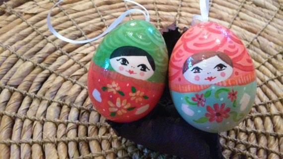 Babushka ornaments, Christmas ladies (set).