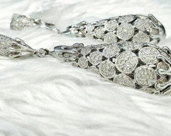 18k white gold and diamond chandelier earrings