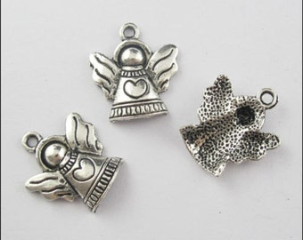30 Gift Silver Tone Heart&Angel Charms Pendants 21x19mm