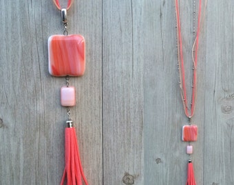 Long fused glass necklace,coral fused glass jewelry, fused glass necklace , taasel frange  handmade