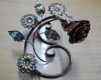 Candle holder Rose candle holder Metal candle holder Rose candle holder  Blacksmith Forged Rose