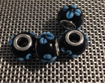 Black European Charm-Blue Glass Flower Beads for all European Charm Bracelets