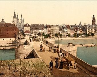 24x36 Poster . Old Main Bridge And Town, Wurzburg, Bavaria, Germany 1890