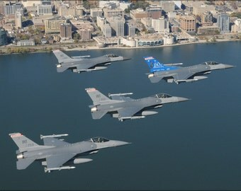24x36 Poster . Wisconsin Air National Guard F-16 Fighting Falcons Over Madison