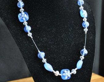 Painted Blue Flower Crimped Necklace