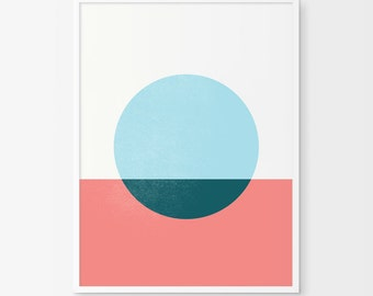 Circle Art, Geometric Print, Circle Wall Art, Scandinavian Art, Printable Art, Minimalist Art, Blue Circle, Abstract Art, Red White and Blue