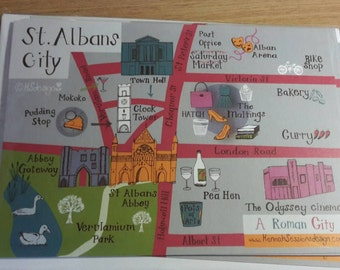 Map of St Albans  postcard - pack of 6 with envelopes.