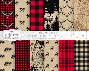 Rustic lumberjack buffalo plaid - 12 digital papers - DIRECT DOWNLOAD