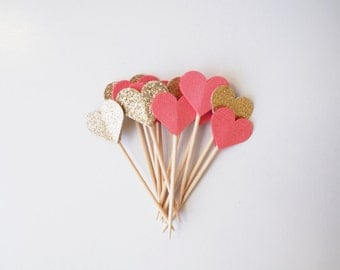 Coral and Gold Glitter Heart Cupcake Toppers
