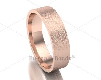 Solid 10k 5mm Rose Gold BRUSHED Flat Band, Matte Ring, Wedding Ring, Engagement Ring, Mens, Womens, Love, Marriage