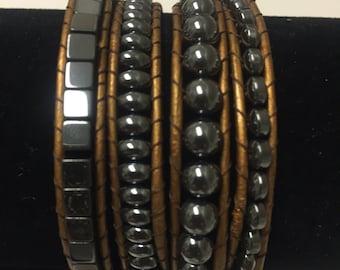 Gun Metal Bead Wrap Bracelet