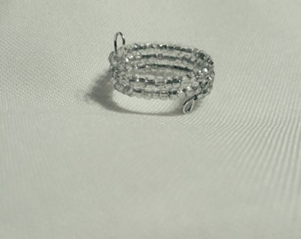 Beaded wrap ring, beaded ring, statement ring, bead ring, wrap ring, memory wire ring, silver plated ring, jewelry trends, clear bead ring