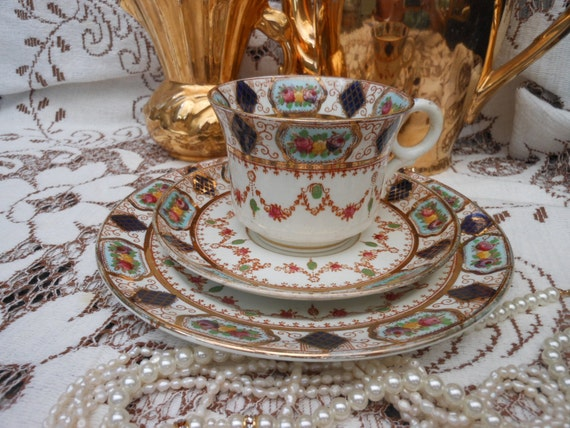 SALE - ANTIQUE GILT Trio - Tea cup - English china - Roses and gilding - Pink and Blue - antique - made c1900
