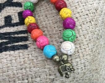 Colorful Elephant Beaded Bracelet