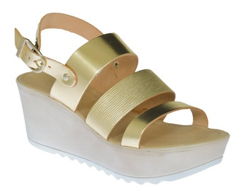 Leather Sandals, Wedge , Sandals, Comfortable Sandals, Women Sandals, Black Sandals, Greek Sandals